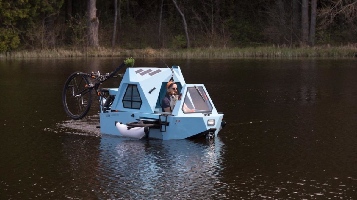 Zeltini Z-Triton Electric Houseboat travels over land and water