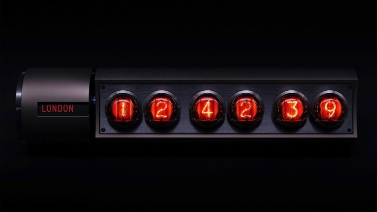 Adatte Design Nixie Time Zone V2 Kinetic Table Clock displays the hour in 5 time zones