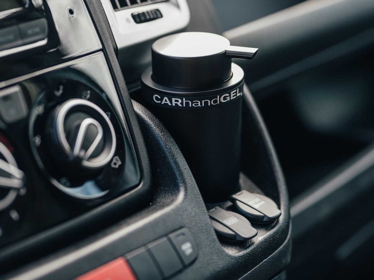 CARhandGEL Vehicle Hand Sanitizer Dispenser lets you easily clean your hands on the go