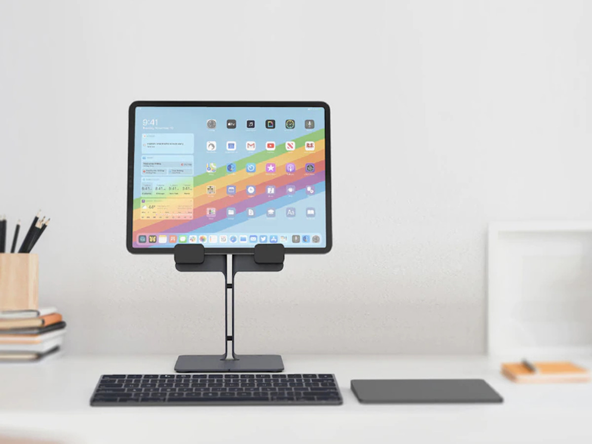 Heckler iPad Desk Stand Tablet Holder places your device in an ergonomic position