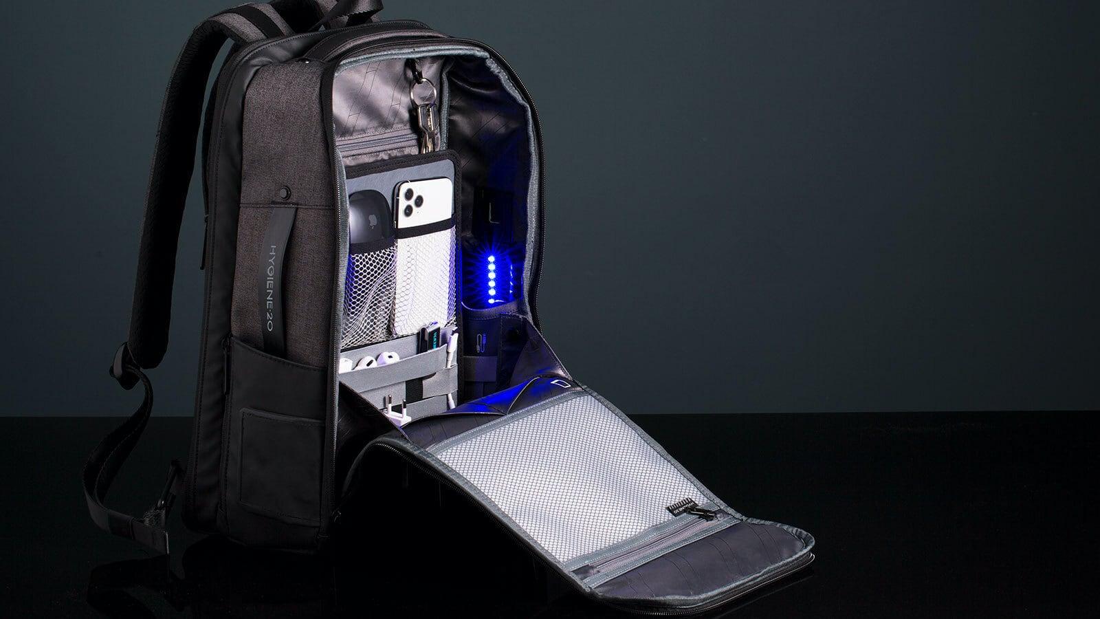 Hygiene20 Smart Sanitizing Backpack has a UV-C light, electronic sanitizer dispenser, and more