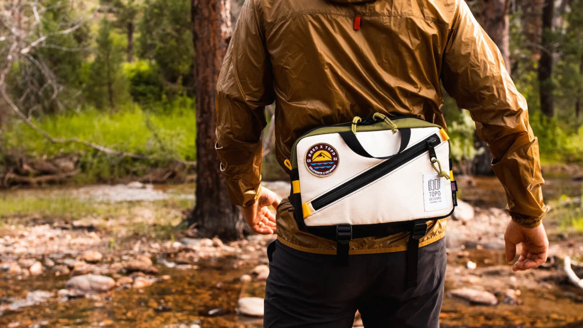 Raen x Topo Designs Quick Pack Grab-and-Go Bag can be worn in many ways