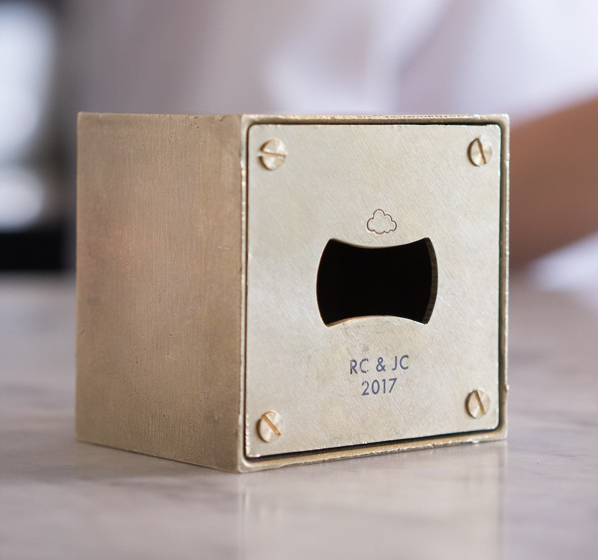 Richard Clarkson Studio Bloc Brass Block Bottle Opener blends form and function