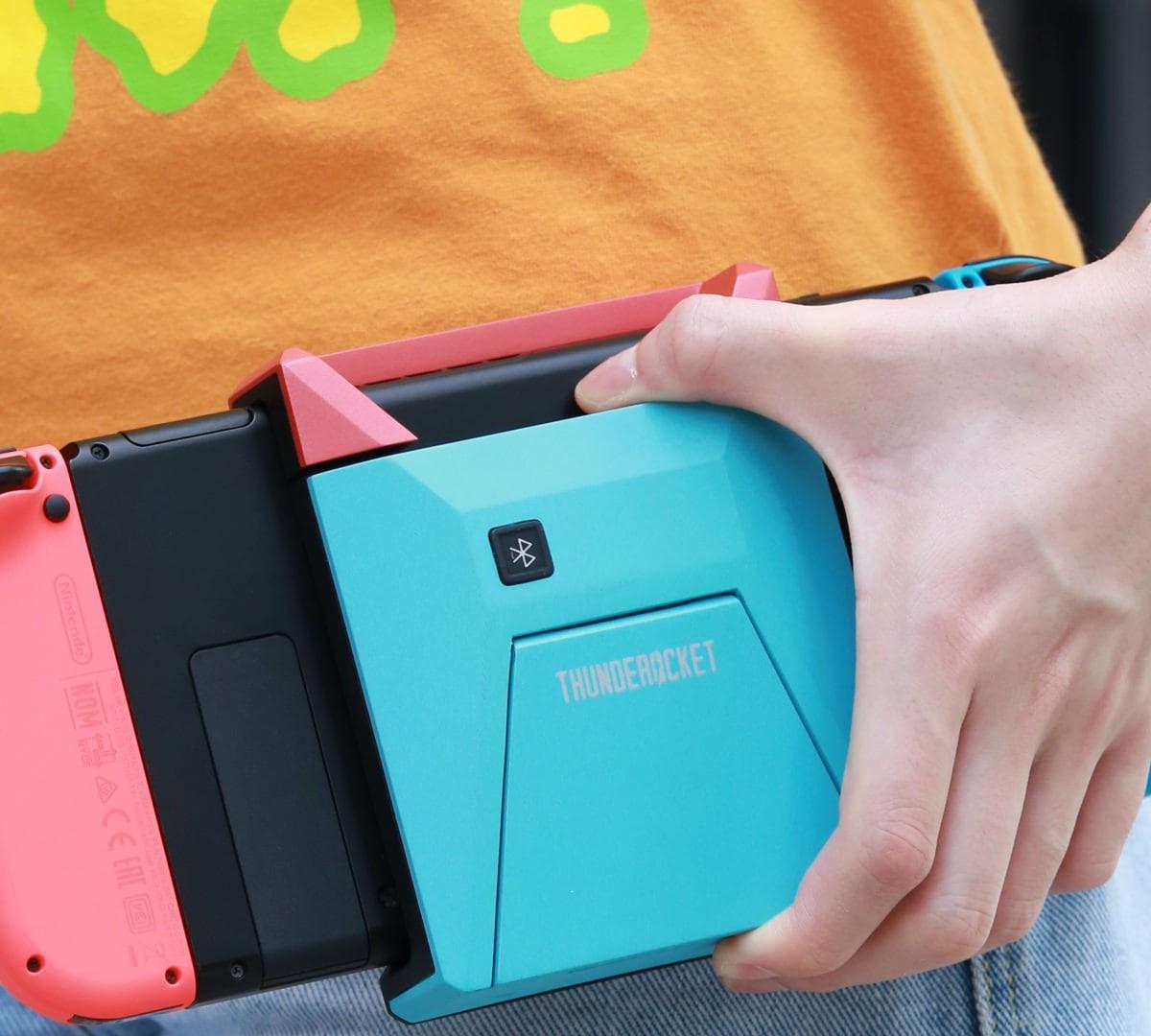 Switchblade Bluetooth Hub for Nintendo Switch has a kickstand and an HDMI output