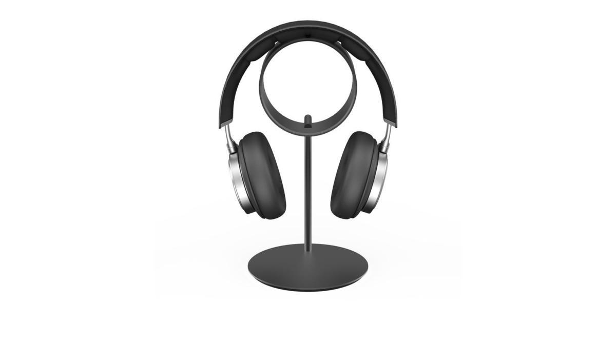 UPPERCASE Designs ZERO Aluminum Headphone Stand provides a designated storage space