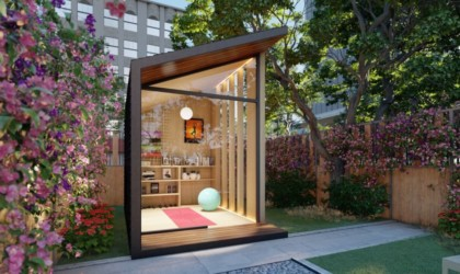 Autonomous Zen Work Pod Outside Office