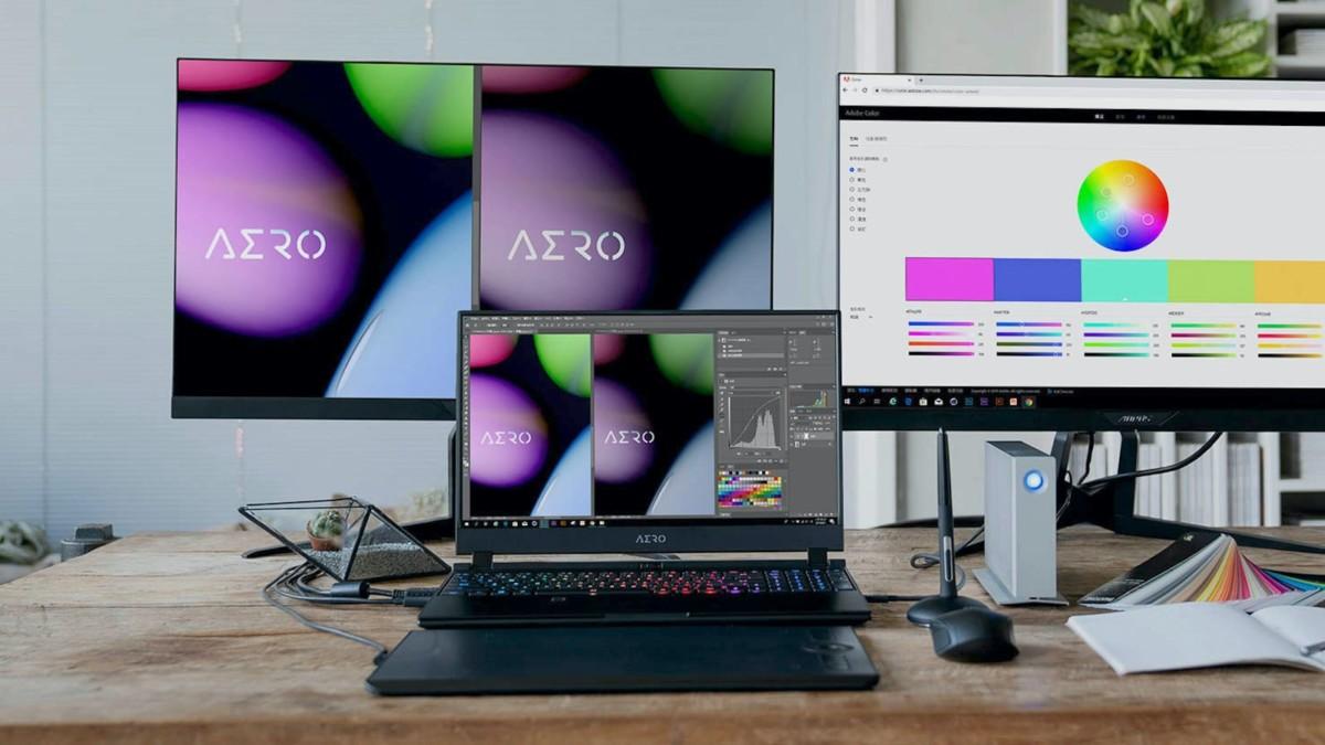 GIGABYTE AERO 17 lightweight notebook has a bright HDR display