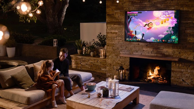 "Samsung The Terrace QLED 4K outdoor smart TV ""aria-descriptionby ="" gfl-post-gallery-6-432441 ""/> Samsung The terrace QLED 4K outdoor smart TV on a patio wall <img loading="