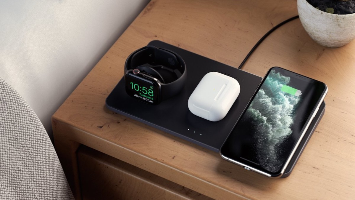 Satechi Trio Wireless Charging Pad smartphone station powers up to three devices