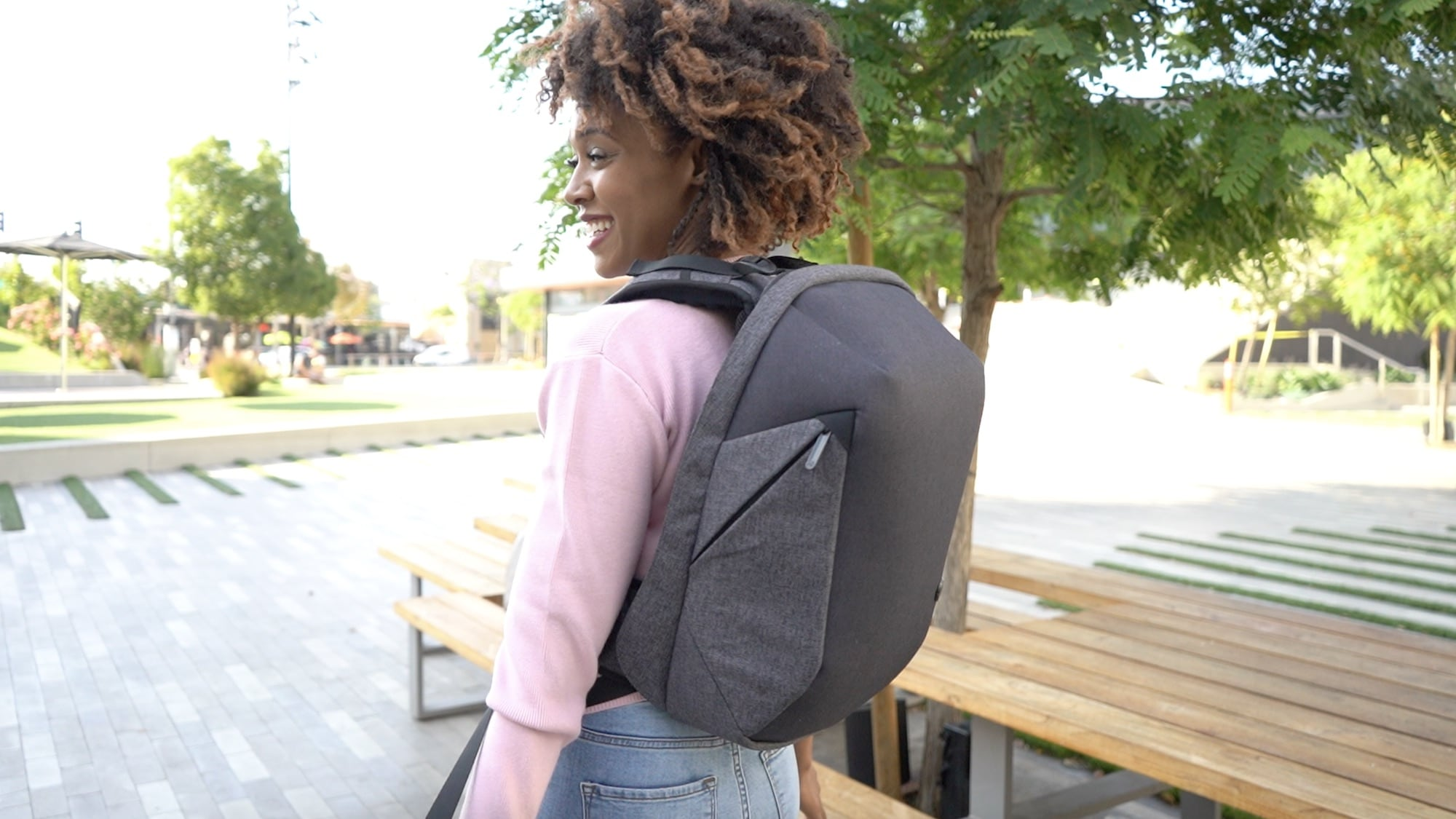This massaging backpack keeps you charged everywhere you go