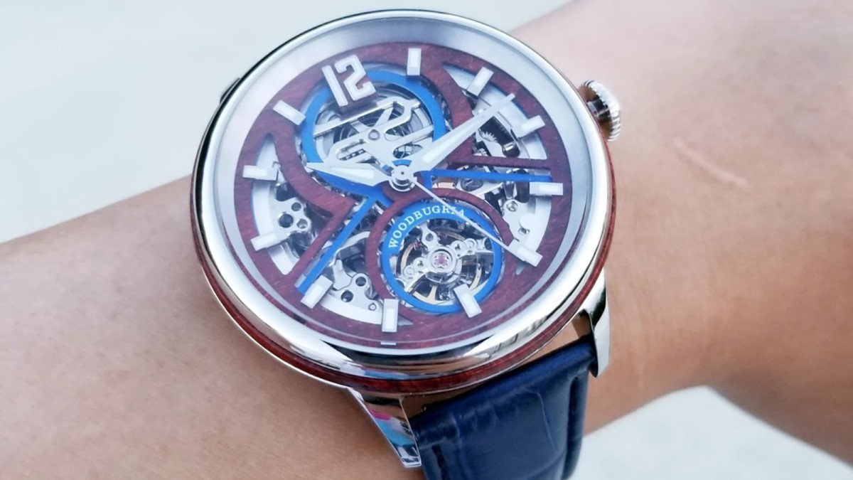 This beautiful wooden watch is modern and traditional