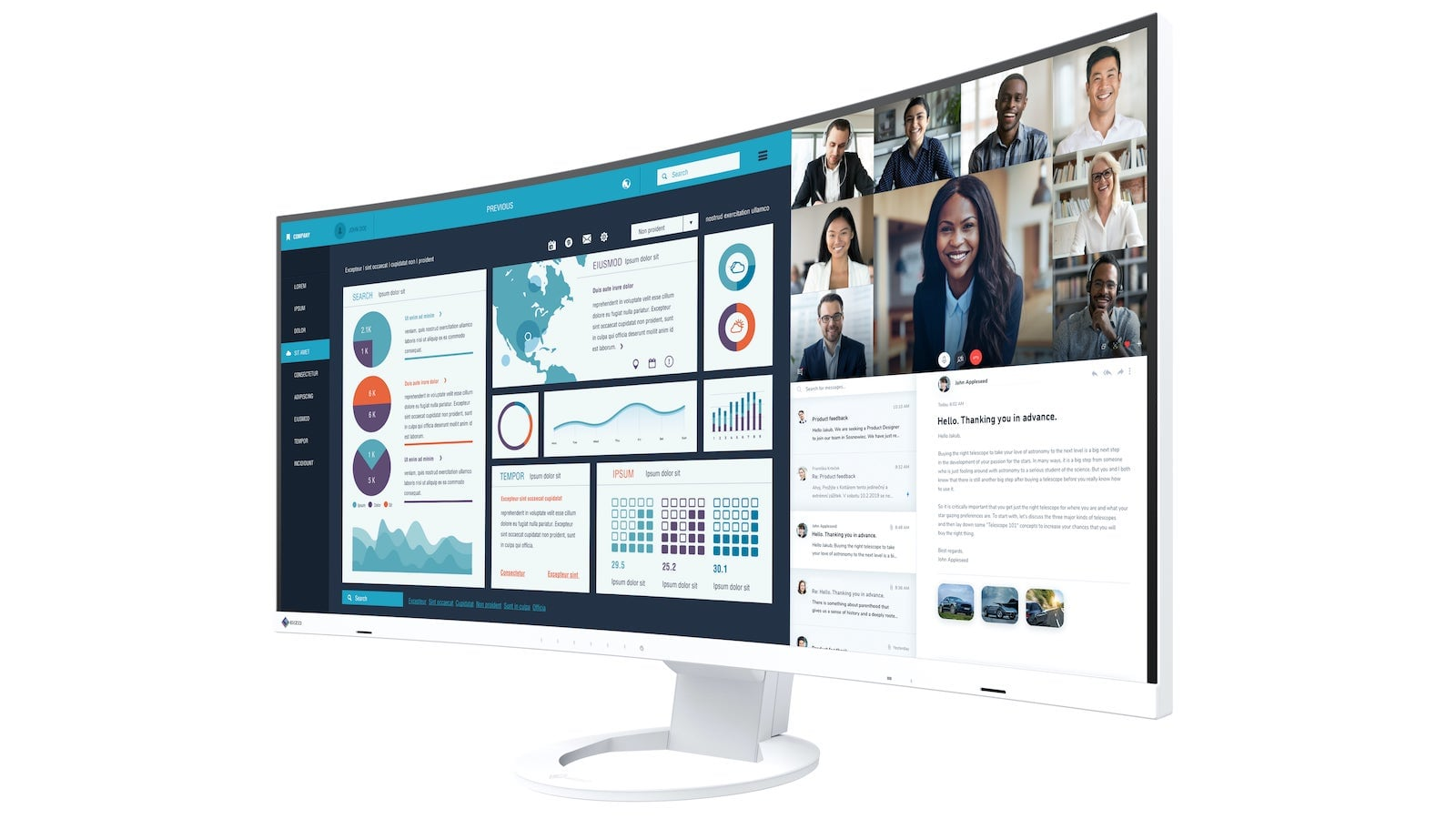 EIZO FlexScan EV3895 ultrawide curved monitor is great for office use