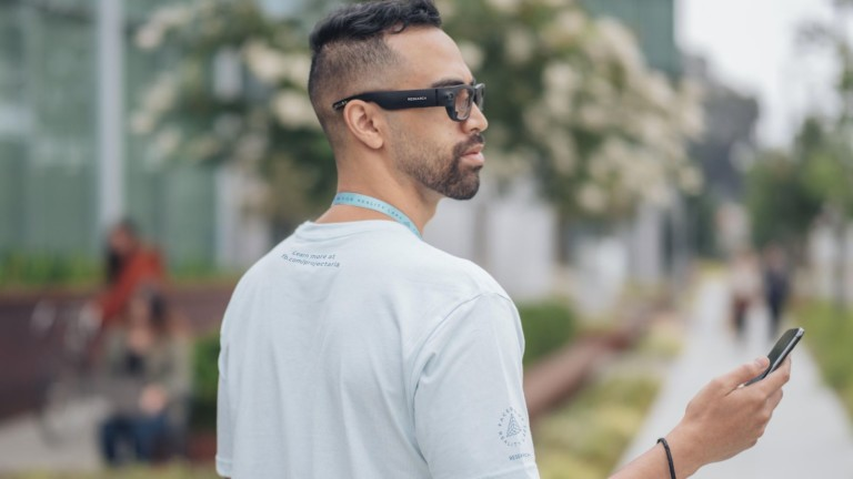 The Facebook Reality Labs Project Aria smart glasses have sensors to capture video and audio