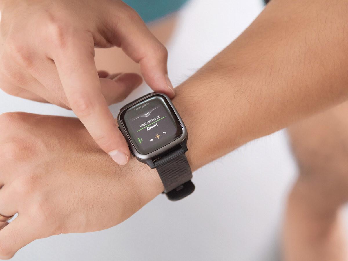 Garmin Venu Sq GPS smartwatch features preloaded workouts