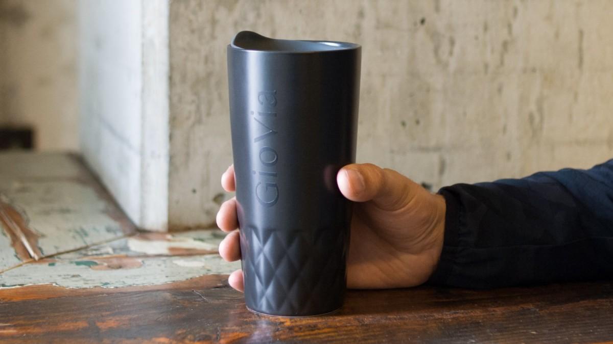 GioVia double-walled porcelain travel mug ensures you never taste steel or plastic again