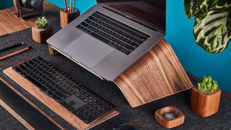 Grovemade walnut laptop stand offers an ergonomic work setup
