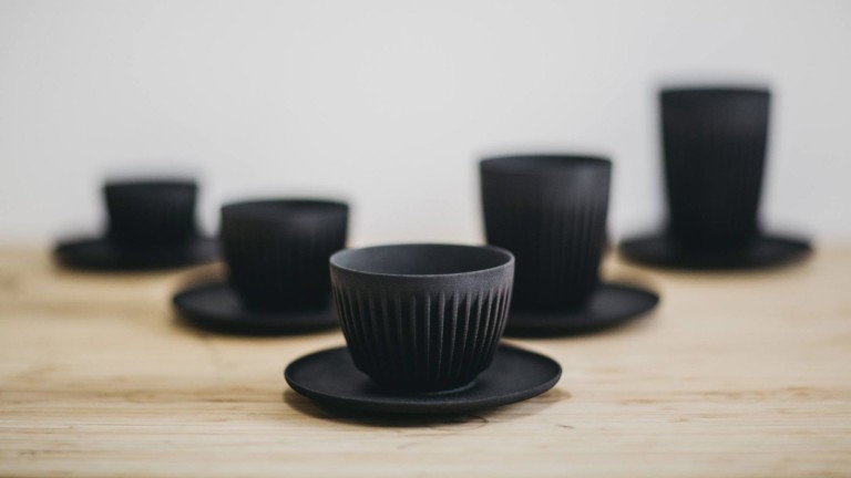 HuskeeCup reusable recycled coffee cup is made from discarded coffee husk