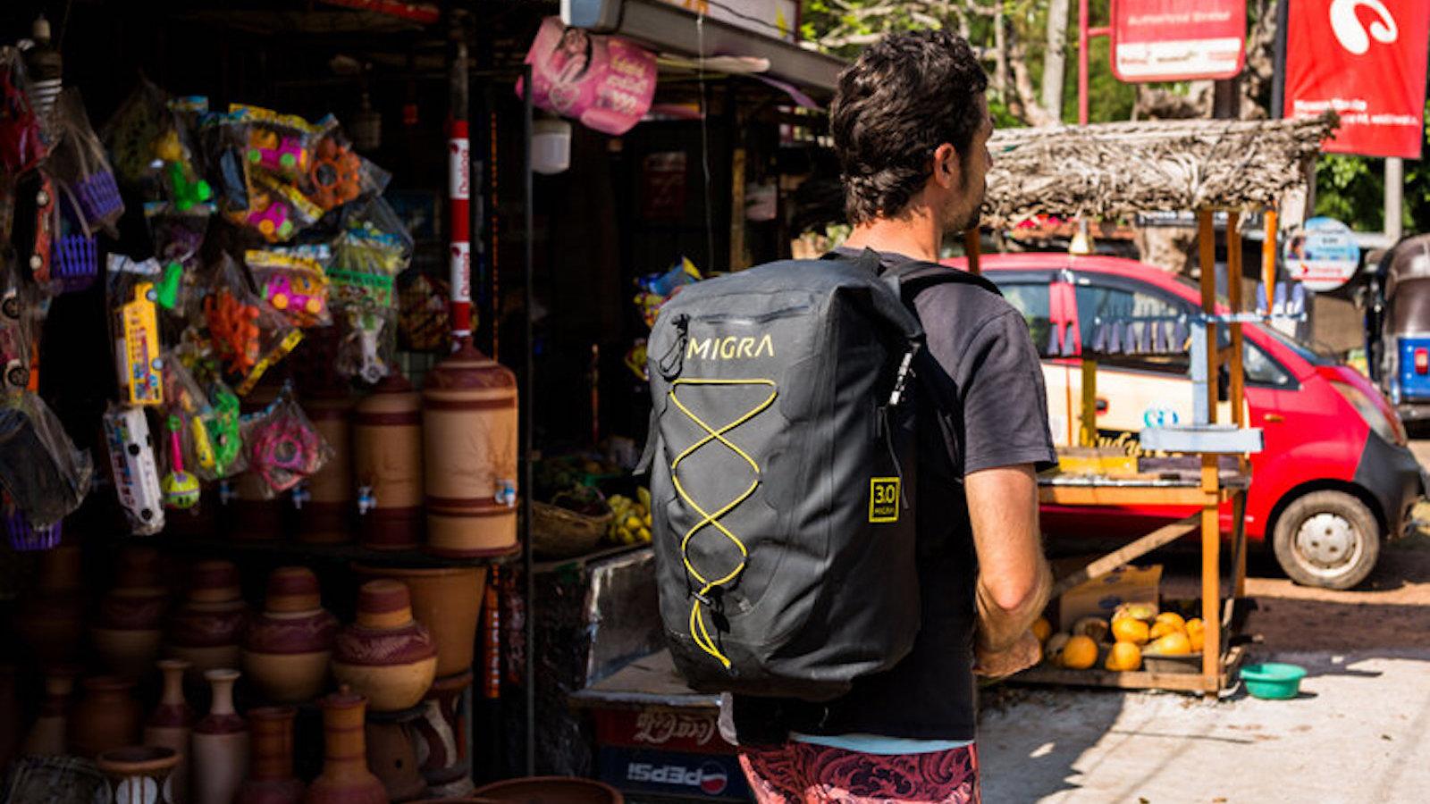 MIGRA 3.0 dry backpack uses a watertight tarpaulin material