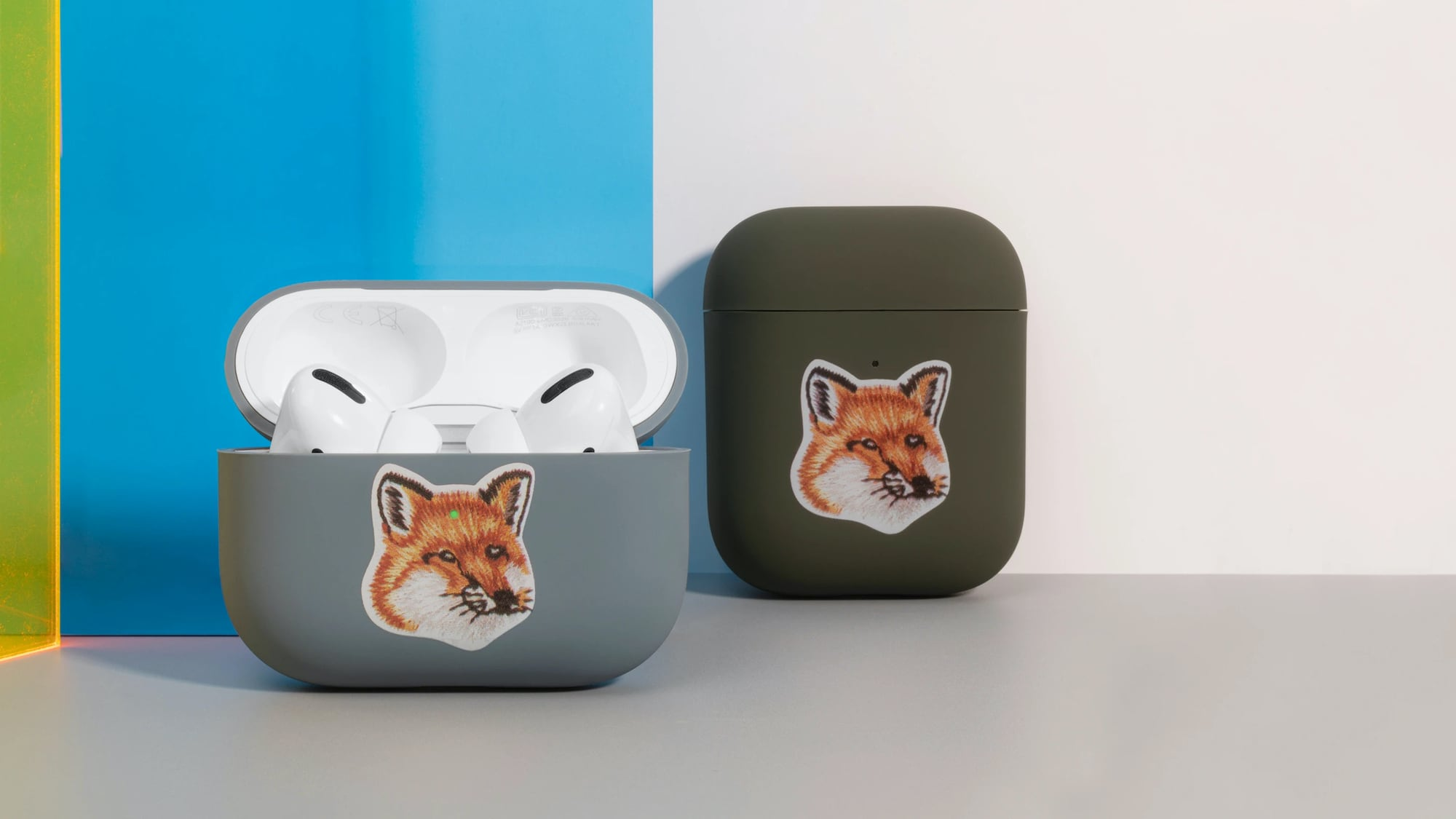 Native Union Maison Kitsuné case for AirPods silicone cover has an adorable fox head on it