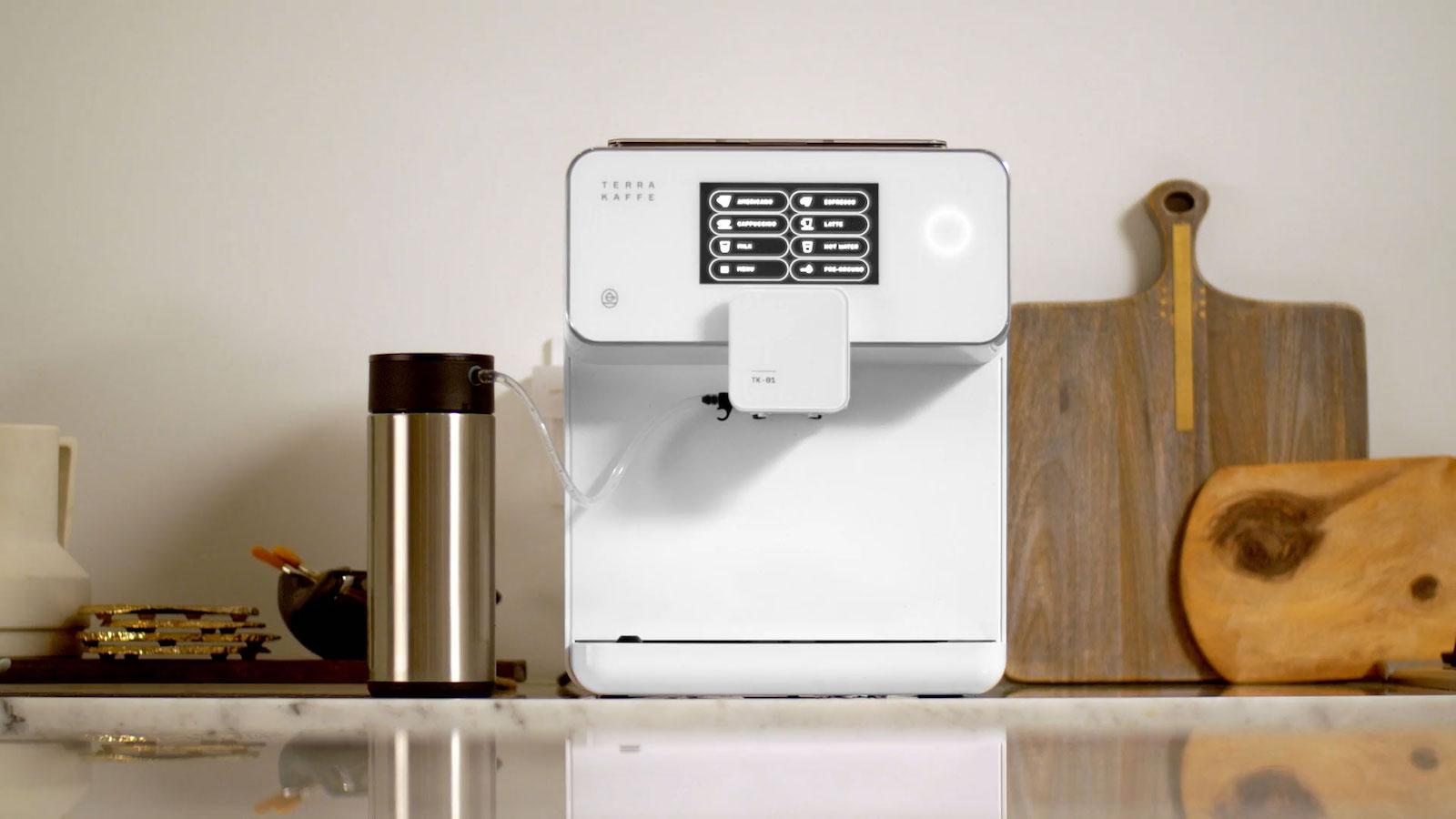 Terra Kaffe TK-01 coffee and espresso machine has a steel grinder