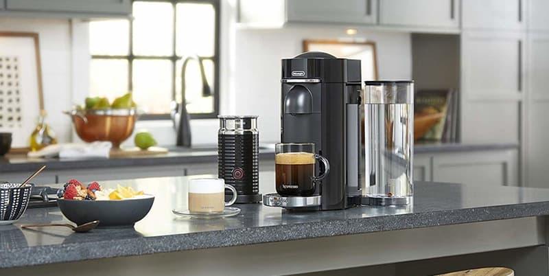 Breville Nespresso VertuoPlus Deluxe Capsule Coffee Maker on a Counter