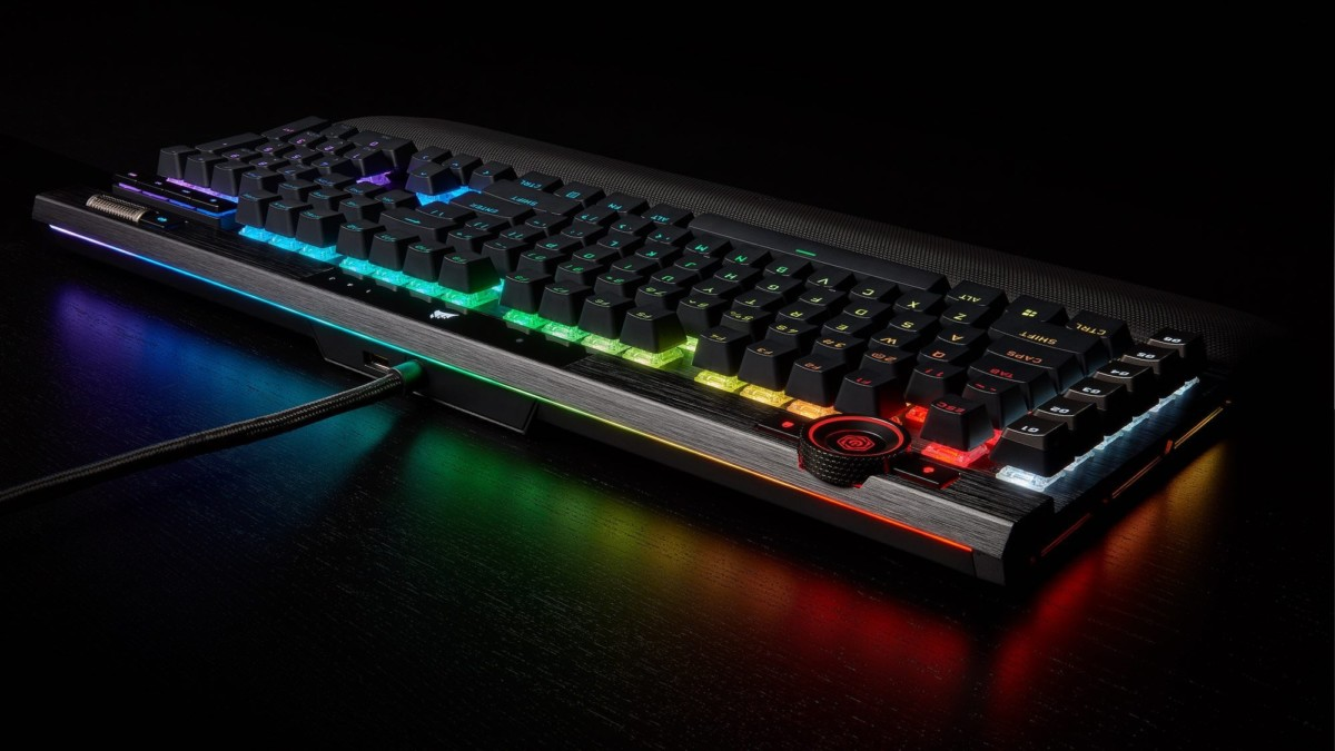 CORSAIR K100 RGB optical-mechanical gaming keyboard has a durable aluminum frame