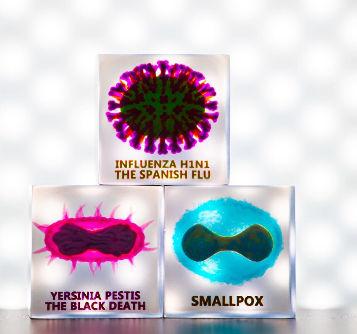 Contagion Cubes 3D virus & bacteria art displays different maladies