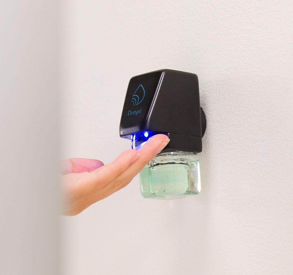Dropi touchless hand sanitizer dispenser mounts anywhere and senses motion