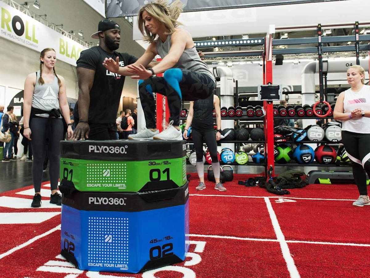 Escape Fitness PLYO360 gym jumping box features target markings