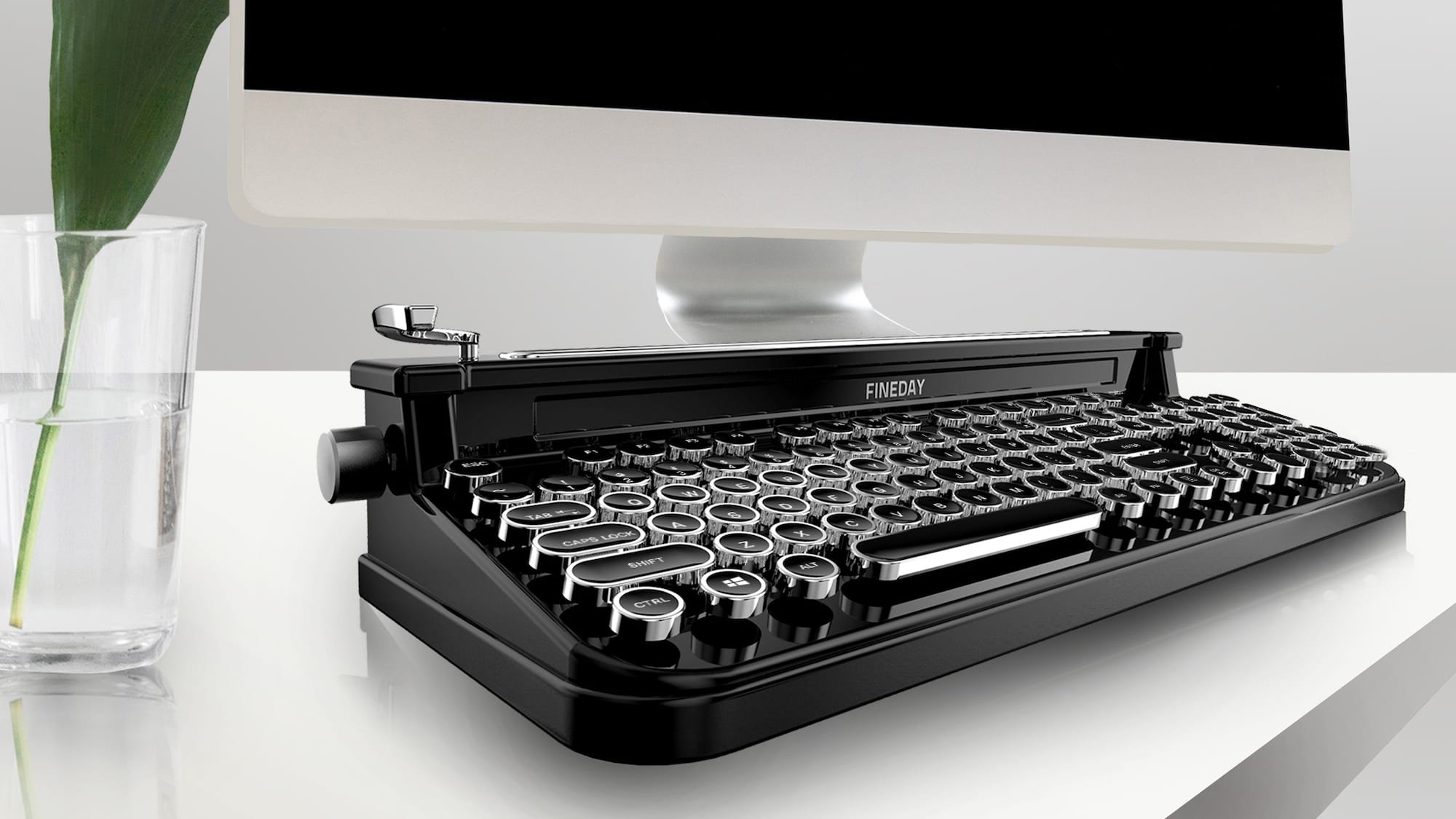 Fineday Retro Bluetooth Typewriter Keyboard pairs with up to three devices