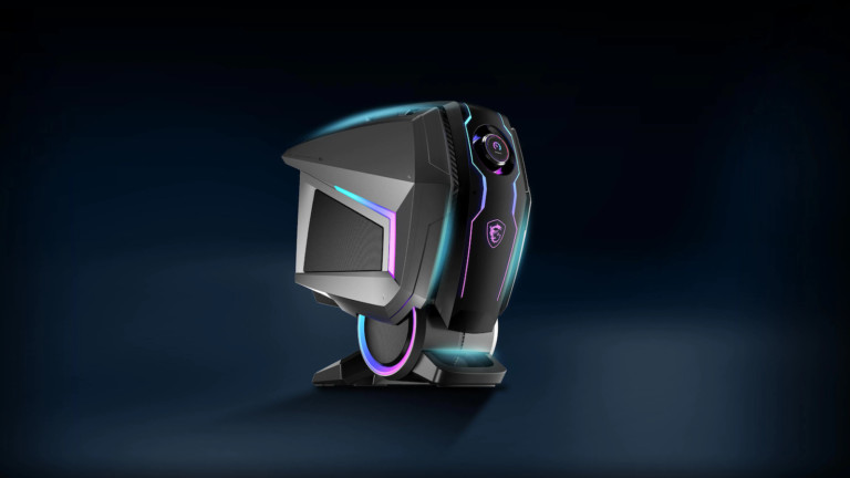 MSI MEG Aegis Ti5 gaming PC features a NVIDIA RTX 3080 graphics card and a sci-fi design