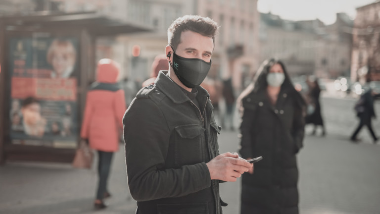 MaskFone smart face mask features integrated earbuds and a built-in microphone