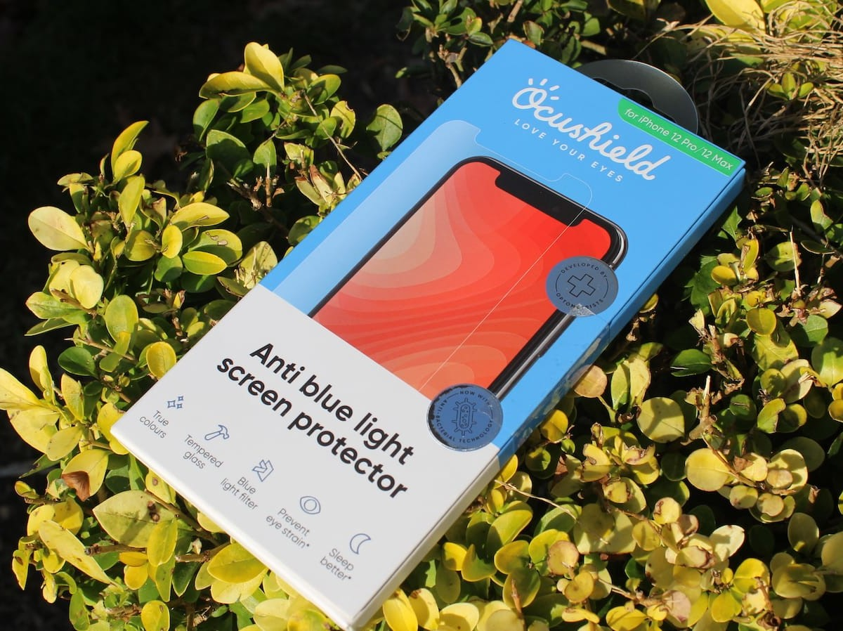 Ocushield iPhone 12 screen protector protects your eyes and is also germ-proof