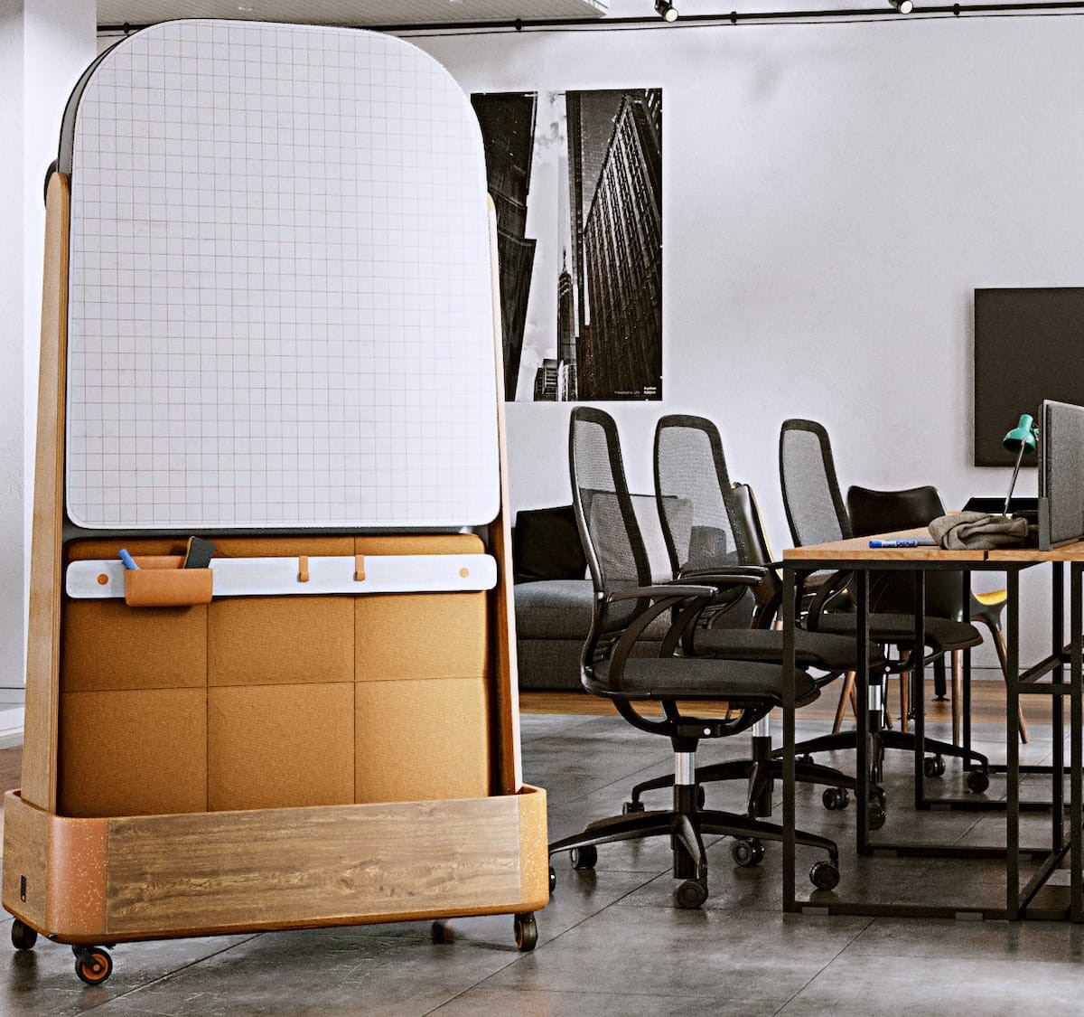 OMI whiteboard room divider features sound-absorbent pads