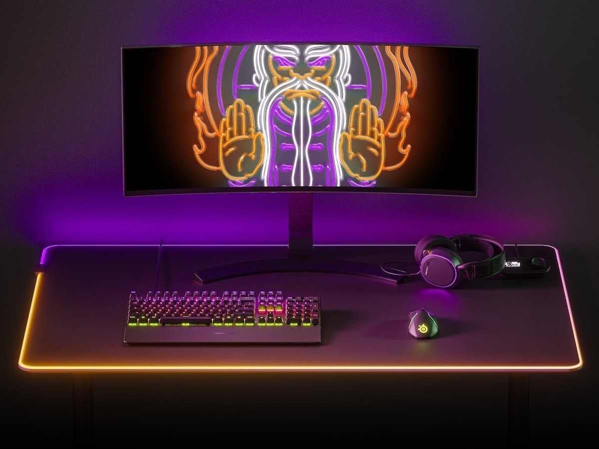 SteelSeries QcK Prism Cloth 4XL gaming mouse pad offers gorgeous 2-zone illumination