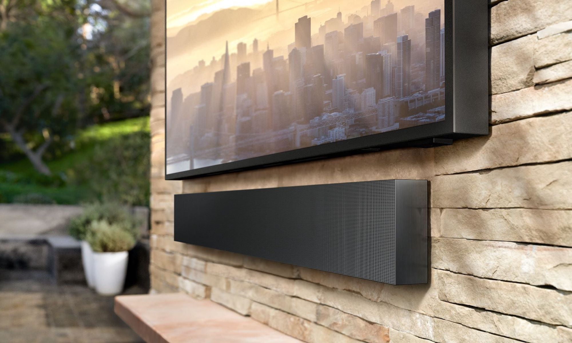 Samsung Terrace TV setup with soundbar