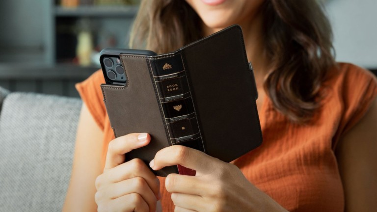 Twelve South BookBook iPhone 12 & 12 Pro Vol. 2 Case has a magnetic tab for a secure closure