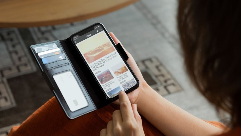 Twelve South BookBook iPhone 12 & 12 Pro Vol. 2 Case has a magnetic tab for secure closure