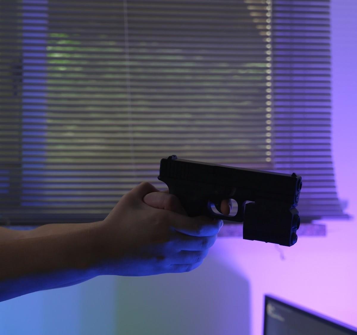 Aidusgun intuitive VR game controller easily attaches to an air gun