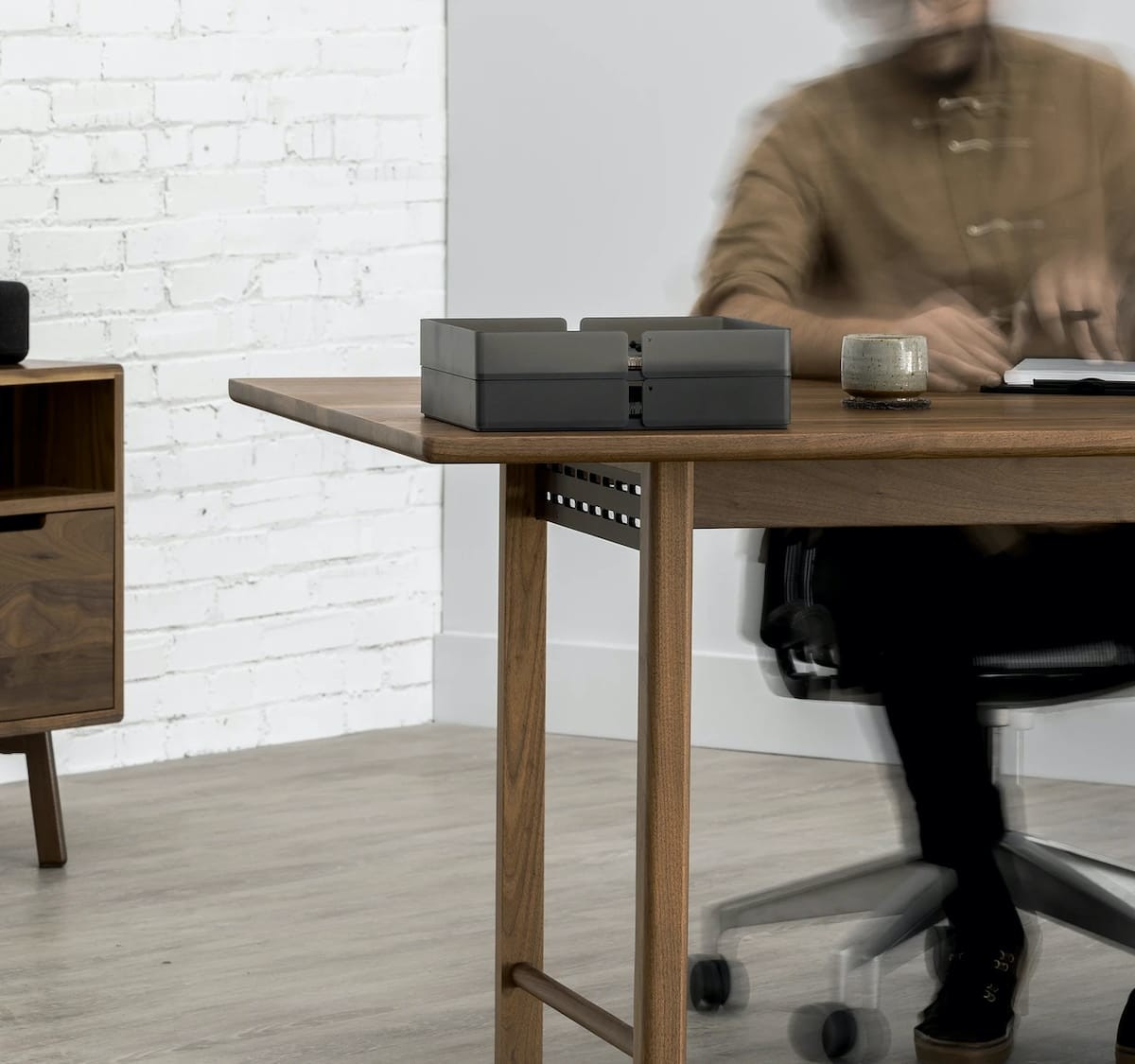Artifox Walnut Table features cable management beneath the surface