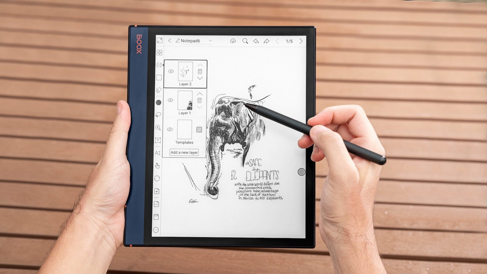 BOOX Note Air 10.3″ E-Ink tablet features an adjustable front light and 5.8 mm thickness