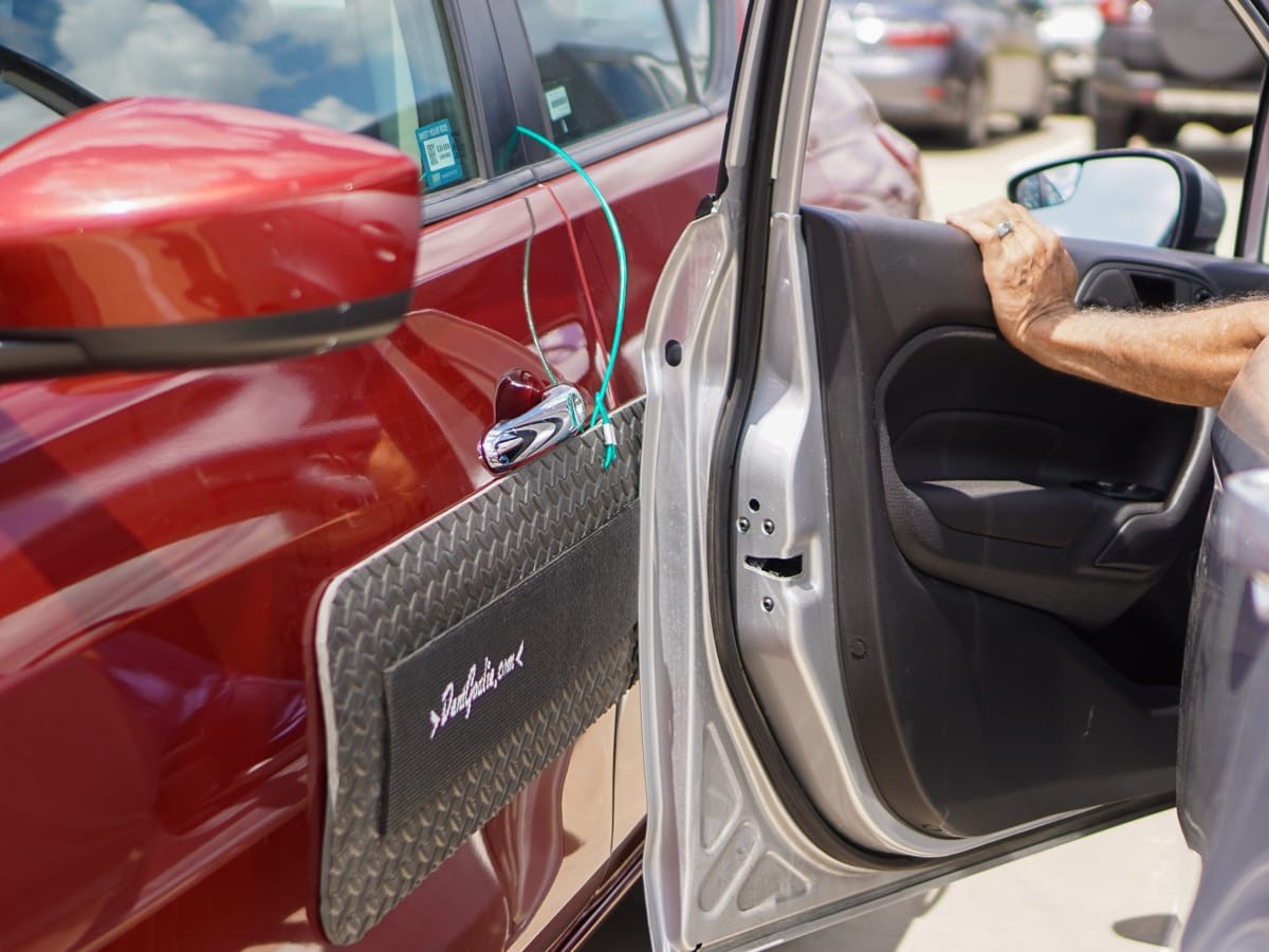 DentGoalie car door protector guards your vehicle from dents while it's parked