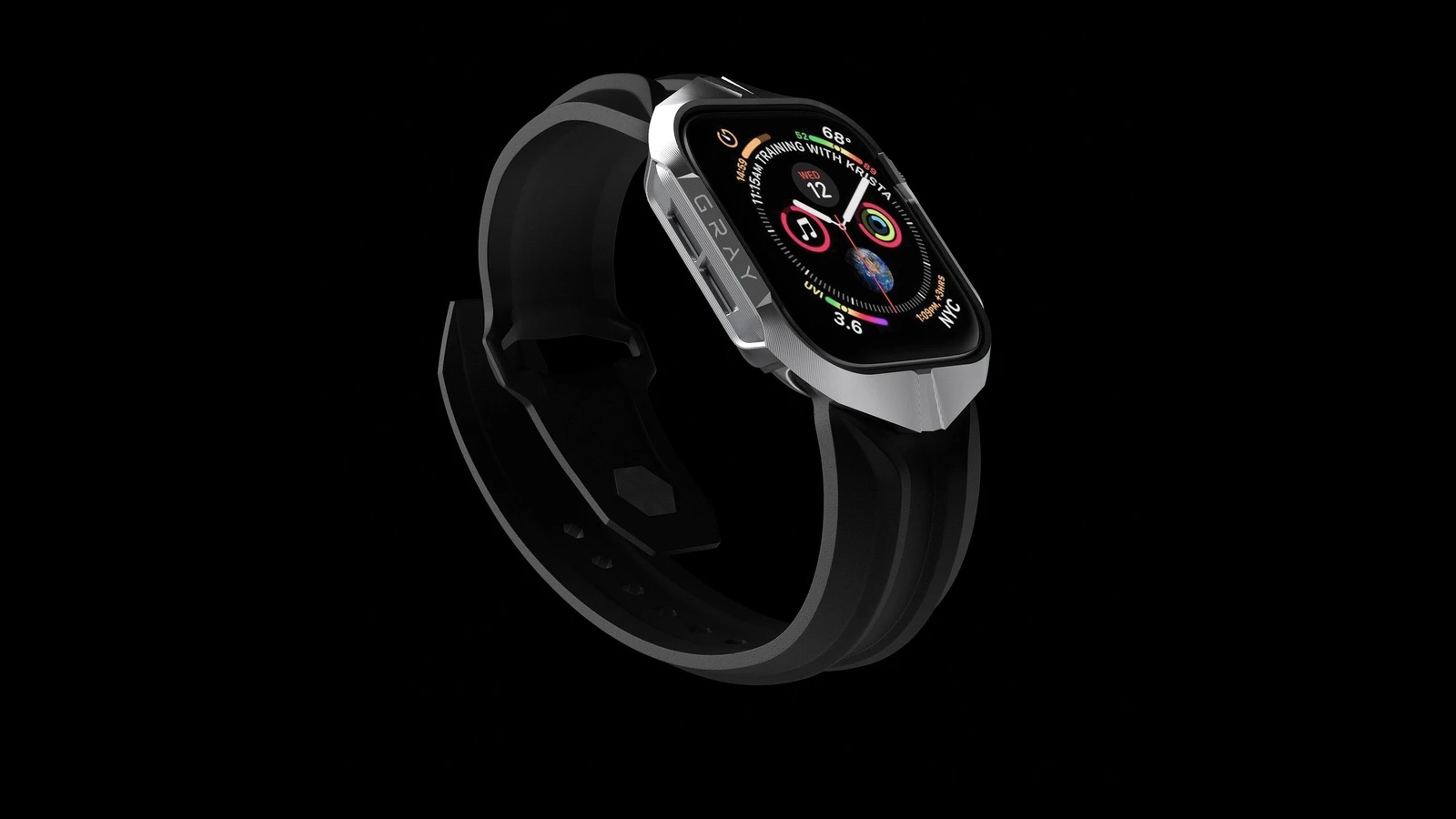 GRAY CYBER WATCH Apple Watch Series Case & Band is luxurious and provides a seamless fit