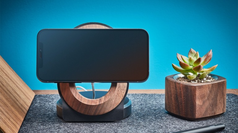Grovemade Wood MagSafe iPhone 12 Stand displays your device and offers wireless charging