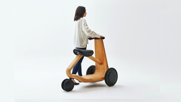 ILY-Ai 3-wheeled electric scooter rethinks mobility with wood