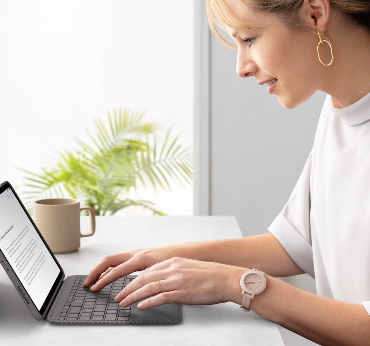 Logitech Folio Touch iPad keyboard case has backlit keys and a trackpad