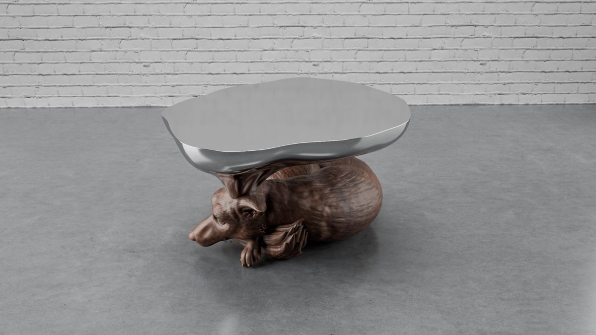 Mousarris Dreaming Fox unique coffee table uses CNC technology to capture details