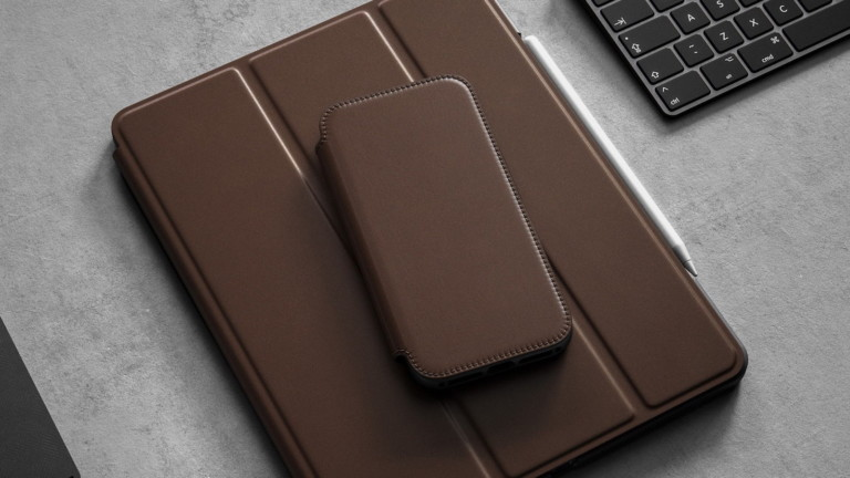 Nomad Rugged Folio iPhone 12 leather case features 10-foot drop protection