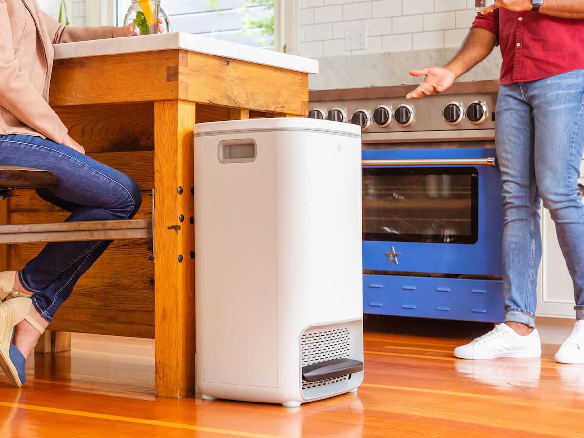 Petal zero-odor waste bin eliminates germs by freezing them