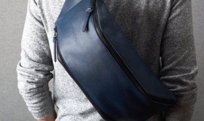 Blue Leather Backpack sling bag
